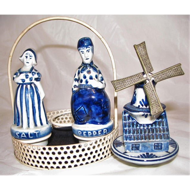 Ceramic Blue Delftware Salt and Pepper With Decoriative Windwill and Tray - Set of 4 For Sale - Image 7 of 12