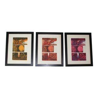 Original Vintage Abstract Woodblocks, Set of 3 For Sale