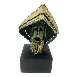 Brutalist Radical Hippie Tabletop Statue For Sale