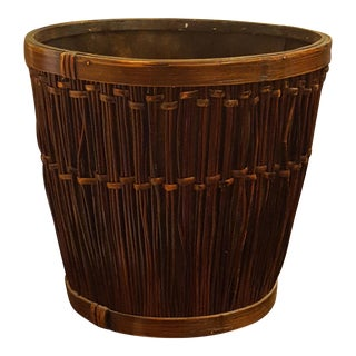 Bamboo and Wicker Waste Basket