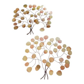 3 Ft Each...Iron and Metal Tree Leaf Wall Art - a Pair For Sale