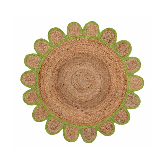 4'x4' Green Round Jute Scallop Rug For Sale - Image 9 of 9