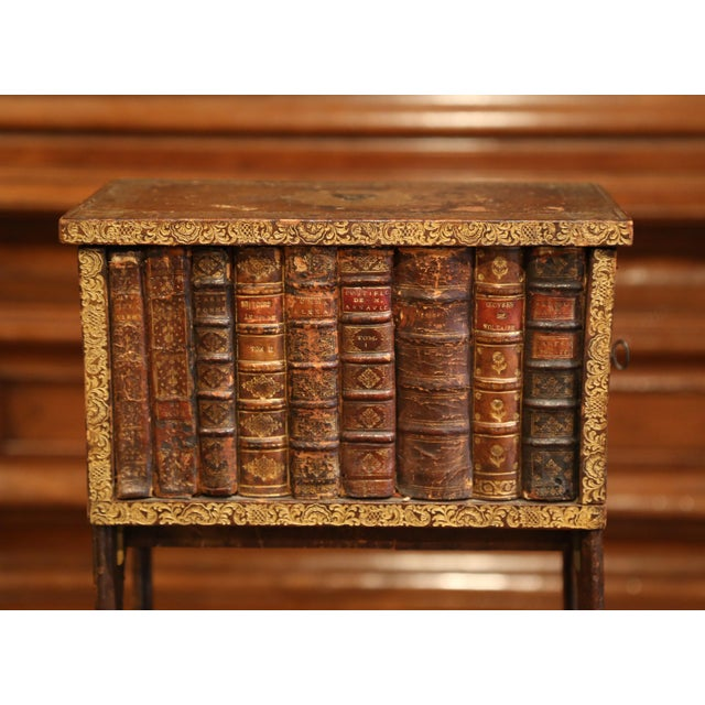 Animal Skin Early 19th Century French Faux Leather Bound Books Liquor Cabinet With Glasses For Sale - Image 7 of 11