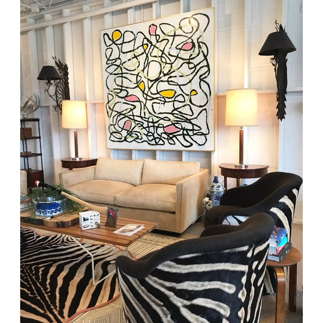 """Canvas Encaustic Painting, Lines 148 by John O'Hara - 68"""" X 68"""" For Sale - Image 7 of 9"""
