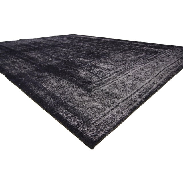 60692 Midnight Purple Distressed Vintage Turkish Rug with Industrial Luxe Style 09'05 x 12'04. Defined and raw combined...