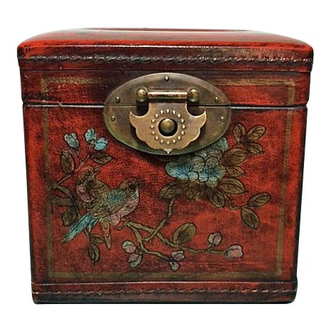 Asian Chinoiserie Antiqued Red Wood Tissue Box - Image 1 of 7