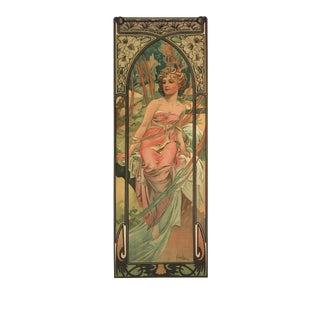 """Alphonse Mucha Le Matin 35.5"""" X 11.75"""" Poster Art Nouveau Brown For Sale"""