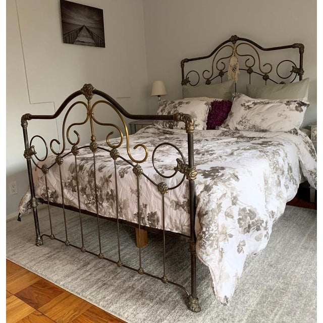 American Cast Iron Bed Frame For Sale - Image 3 of 5