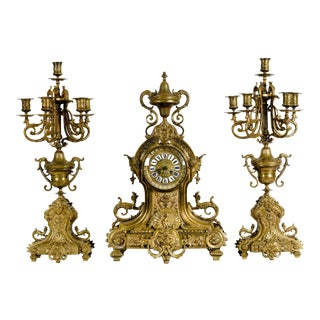 Antique English Bronze 3-Piece Clock Garniture Set For Sale