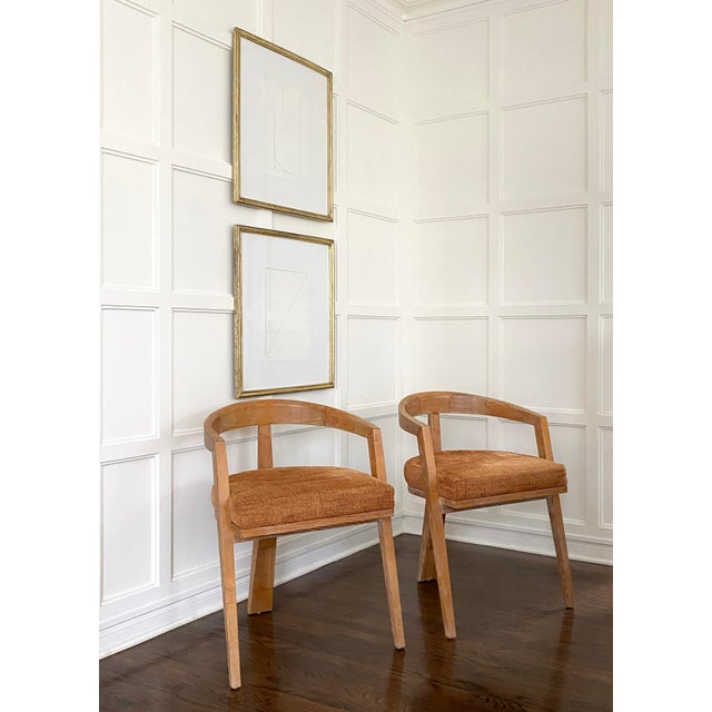 Mid Century Modern Cerused Oak Sculptural French Chairs - a Pair For Sale - Image 4 of 11