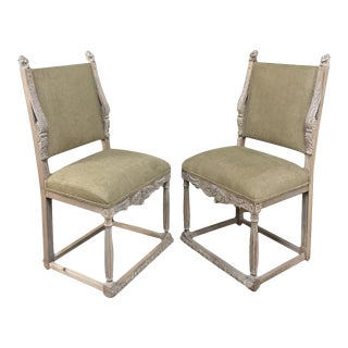 Pair 19th Century French Louis XIV Whitewashed Chairs For Sale