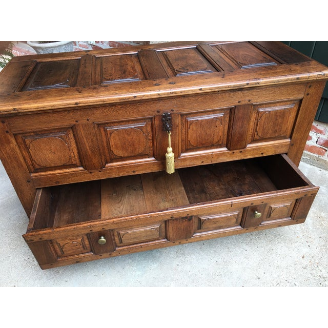 1900s Antique French Country Carved Oak Mule Chest Bench Coffer Trunk For Sale In Dallas - Image 6 of 13