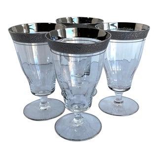 Vintage Tiffin Optic Rambler Rose in Silver Platinum Stem Glasses - Set of 4 For Sale
