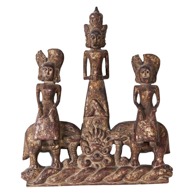 Mid 19th Century Burmese Figurative Carved Wood Fragment For Sale