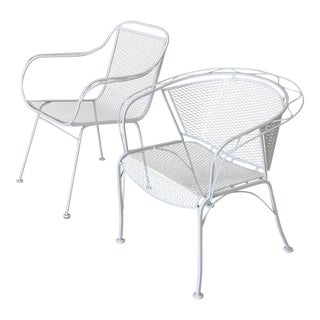 Mid Century Mismatched Powder Coated Metal Patio Chairs - a Pair For Sale