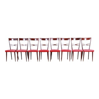 Paolo Buffa Style Mid-Century Modern Italian Dining Chairs, Set of Eight For Sale