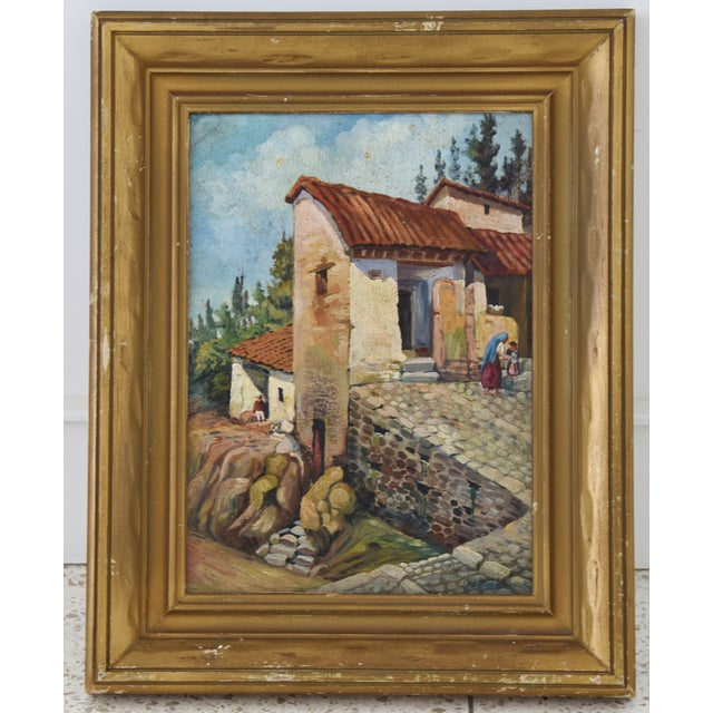 Early 1900s Italian Mediterranean Village Oil Painting For Sale - Image 9 of 10