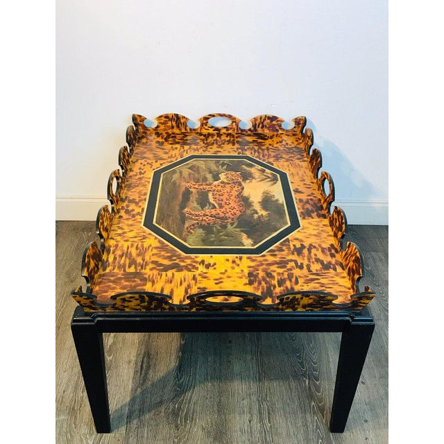 Regency style Faux painted tortoiseshell & Jaguar Motif coffee table by William Skilling, Unsigned William Skilling...