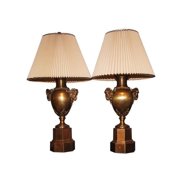 Neoclassical Brass Rams Head Lamp - Pair - Image 1 of 3