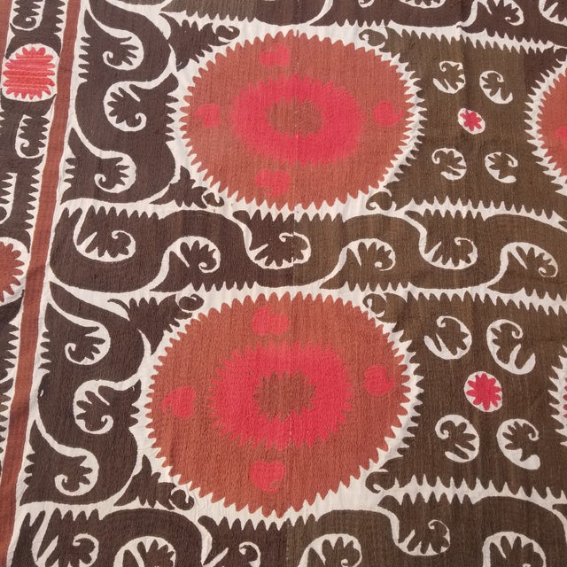 Tribal Vintage Hand Embroidered Suzani Bed Cover 7x11ft For Sale - Image 3 of 6