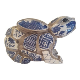 Mid 19th Century Blue and White Easter Bunny Rabbit Chinoiserie Figurine For Sale