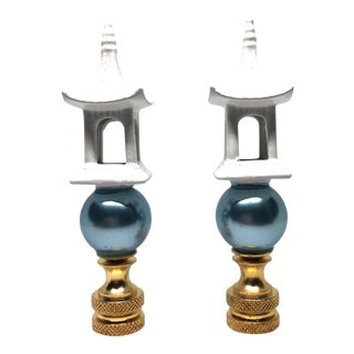 White Porcelain Pagodas and Aqua Pearl Lamp Finials - a Pair For Sale