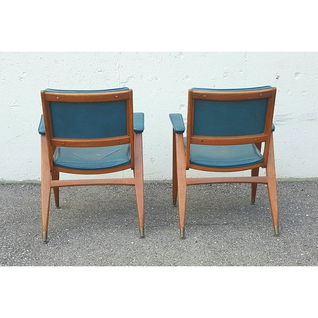 Turquoise Vintage Gio Ponti Chairs in Teal Leather - Pair For Sale - Image 8 of 8
