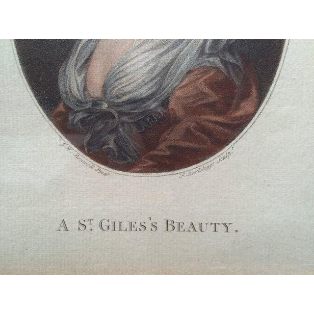 """Late 18th Century 18th Century Color Engraving """"A St. Giles's Beauty"""" For Sale - Image 5 of 8"""