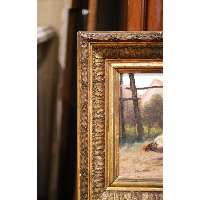 Late 19th Century Mid-19th Century French Oil on Board Chicken Painting in Carved Gilt Frame For Sale - Image 5 of 10