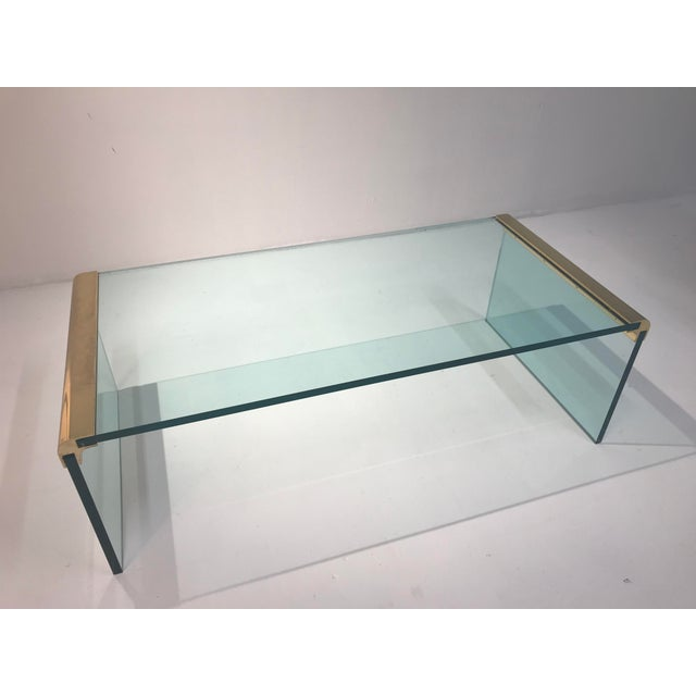 Gold 1970s Minimalist Pace Collection Brass and Glass Coffee Table For Sale - Image 8 of 8
