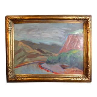"""1940s """"Ojai Road"""" California Landscape Oil Painting by Anders Aldrin, Framed For Sale"""