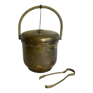 Vintage Krome-Kraft Patinated Brass Ice Bucket and Tongs by Farber Bros For Sale