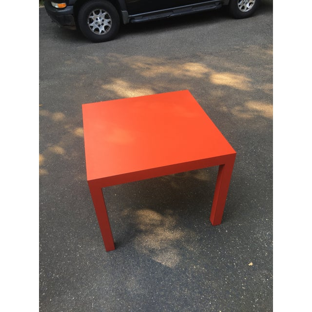 1970s Modern Tomato Red Parsons Dining Table For Sale - Image 4 of 5
