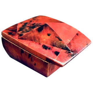 R & Y Augousti Mosaic Trinket Box in Exotic Red Pen-Shell For Sale
