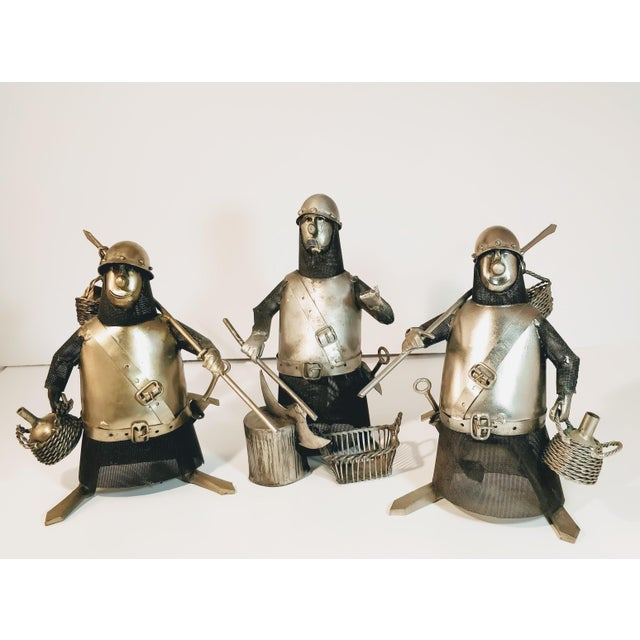 Vintage Metal Knight Figurines - Set of 3 For Sale - Image 6 of 13