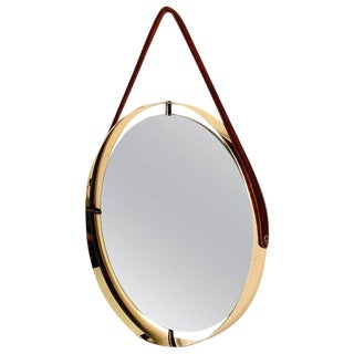 Ambianic Studio Round Mirror With Leather Strap For Sale