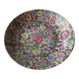 Vintage Chinoiserie Pastel Flower Shallow Bowl For Sale