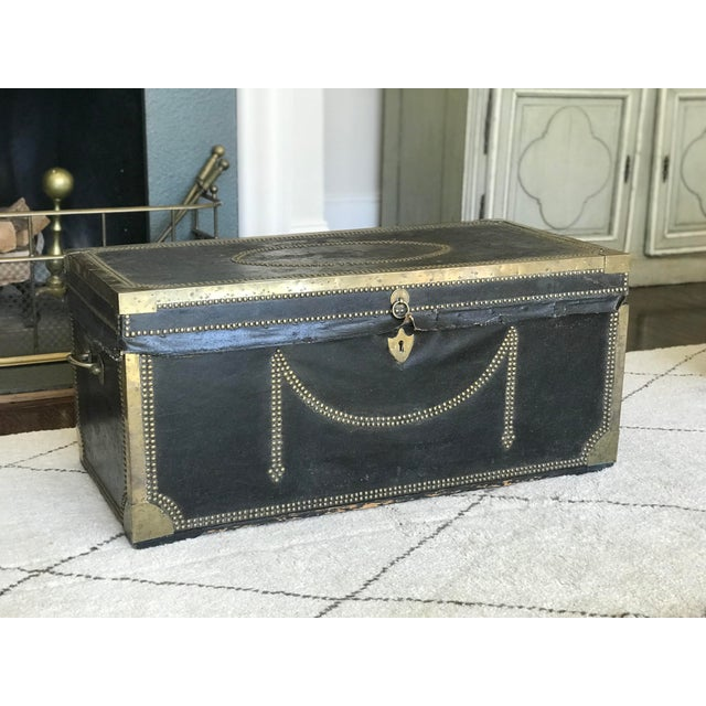 Gold 19th Century Leather & Brass Campaign Chest For Sale - Image 8 of 8