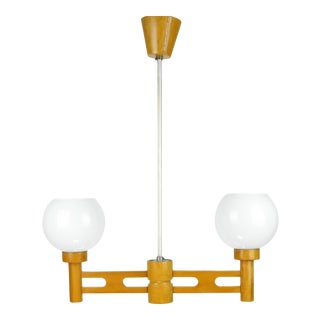 1960s Wooden Pendant Lamp, Dřevo Humpolec, Czechoslovakia For Sale
