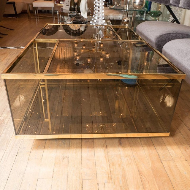 Mid-Century Modern Rectangular Brass and Smoked Glass Coffee Table For Sale - Image 3 of 5
