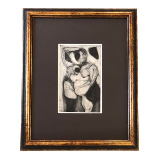 Original Vintage Female Nude Abstract Etching For Sale