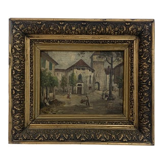 Antique Oil Painting on Board For Sale