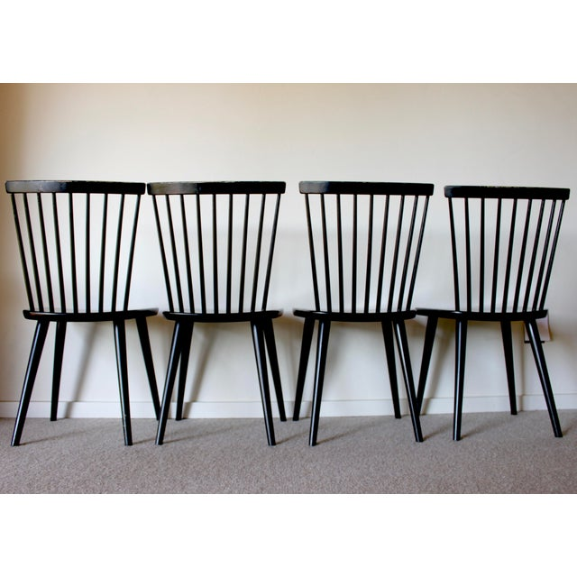 Danish Modern Swedish Mid Century Solid Wood Spindle Dining Chairs - Set of 4 For Sale - Image 3 of 9