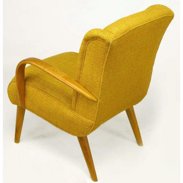 1940s Circa 1940s Maple Wood & Saffron Upholstered Lounge Chair For Sale - Image 5 of 10