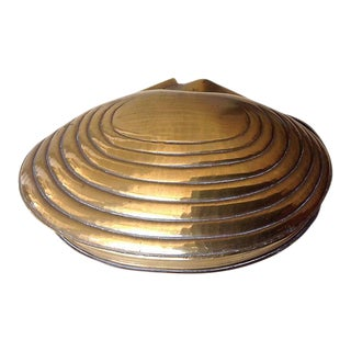 Brass Clam Shell Keepsake Box For Sale