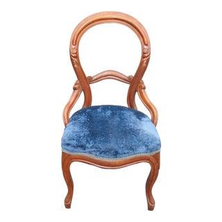 Unique Antique Balloon Back Blue Velvet Accent Chair Round Open Back For Sale