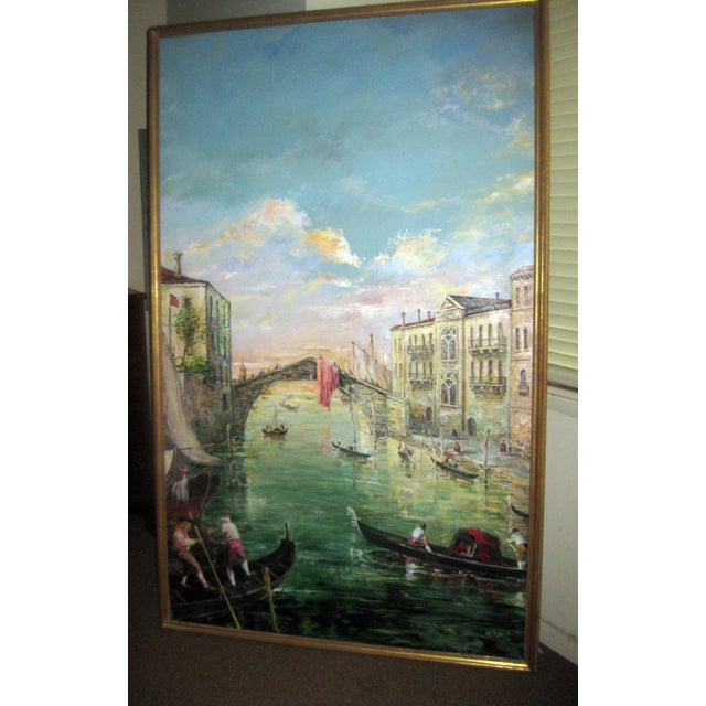 Late 20th Century Valerio Zerbo San Marco Piazza Large Oil Painting For Sale - Image 11 of 12