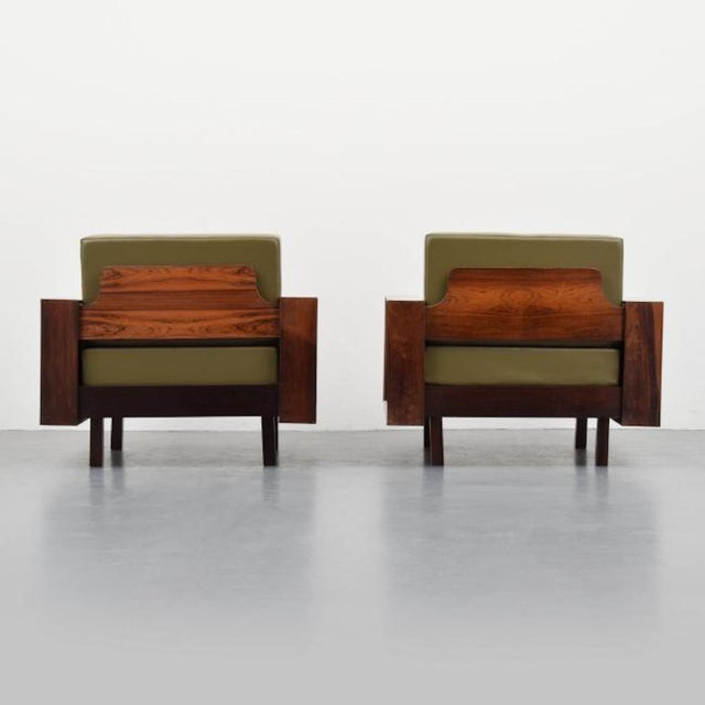 Gorgeous Pair of Celina Decoracoes Rosewood Lounge Chairs, Brazil, 1950s For Sale - Image 4 of 7