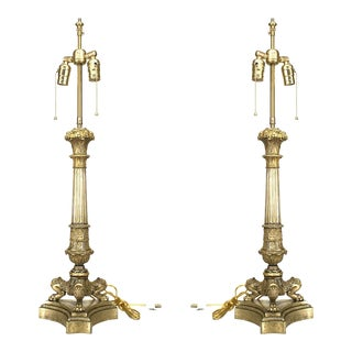 French Louis XVI Style Bronze Table Lamps For Sale
