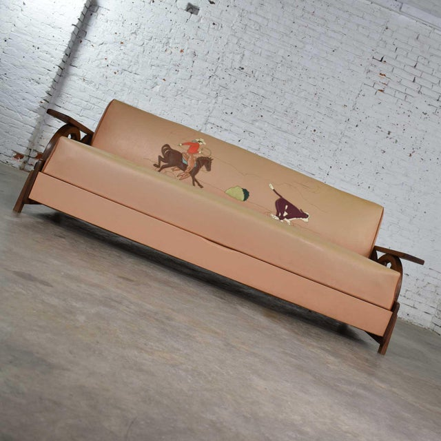 Mid 20th Century Mid Century Cowboy Western Wagon Wheel Convertible Dude Ranch Sofa For Sale - Image 5 of 13